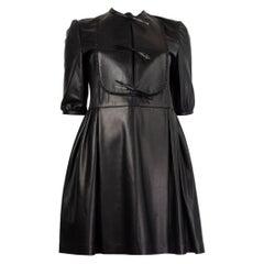 VALENTINO black LEATHER 3/4 Sleeve Plated Dress 40