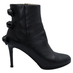 Valentino Black Leather Bow Ankle Boots