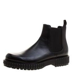 Valentino Black Leather Chelsea Platform Boots Size 42