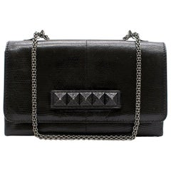 Valentino black leather clutch bag