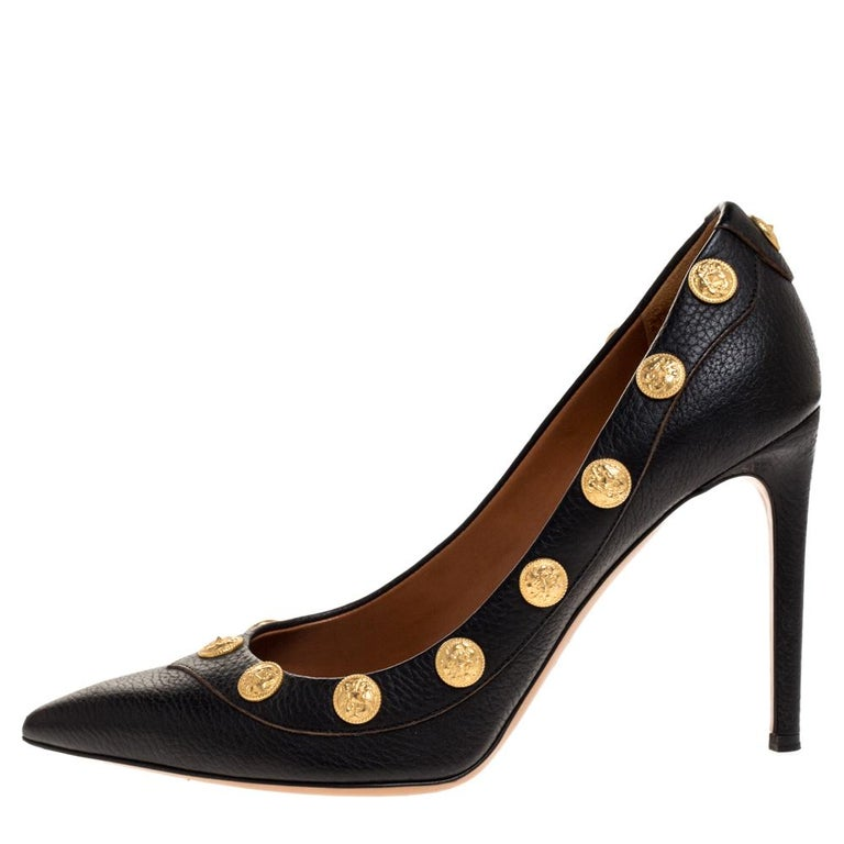 Valentino Black Leather Coin Embellished Pointed Toe Pumps Size 39.5 For Sale 1