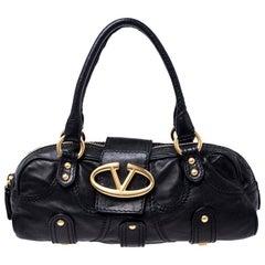 Valentino Black Leather Crystal Catch Satchel