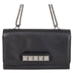 VALENTINO black leather CRYSTAL SO NOIR VA VA VOOM Shoulder Bag