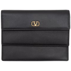 Valentino Black Leather Double Flap Clutch
