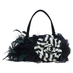 Valentino Black Leather Feather Satchel