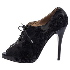 Valentino Black Leather Floral Embroidered Peep Toe Ankle Booties Size 40