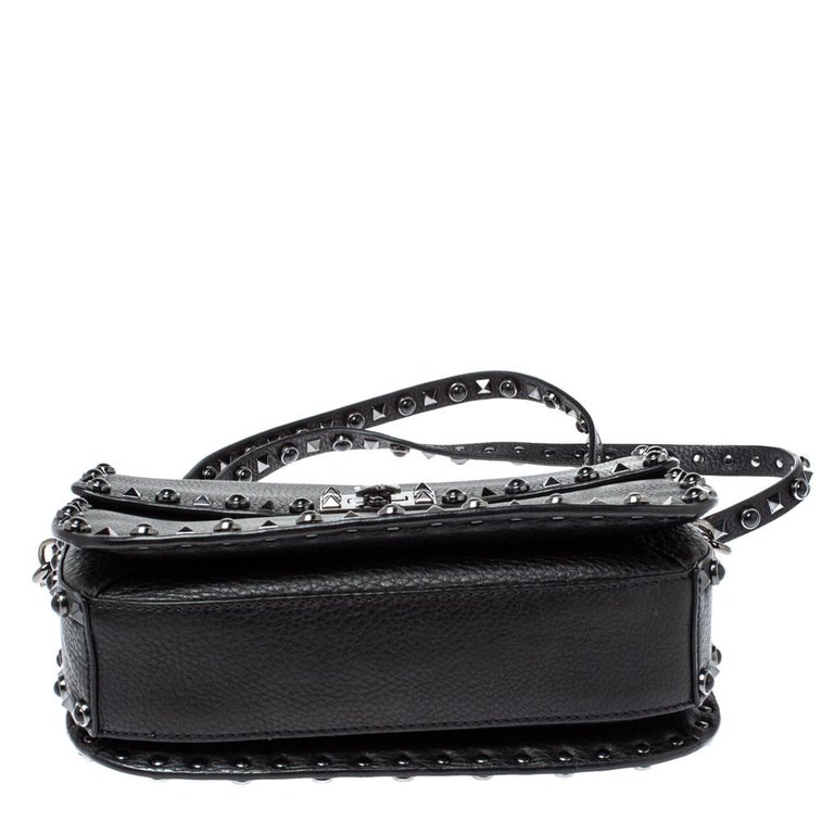 Valentino Black Leather Guitar Rockstud Rolling Crossbody Bag For Sale 1