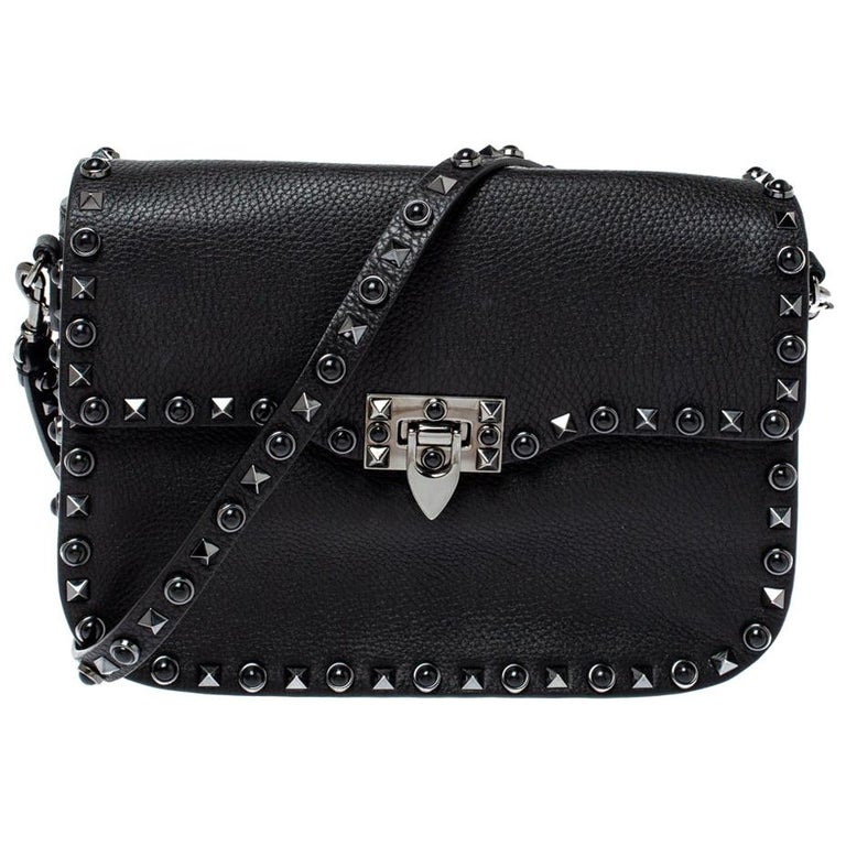 Valentino Black Leather Guitar Rockstud Rolling Crossbody Bag For Sale