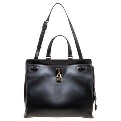 Valentino Black Leather Large Joylock Top Handle Bag