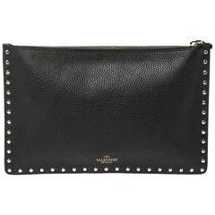 Valentino Black Leather Large Rockstud Zip Clutch