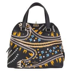 VALENTINO black leather LEOPARD EMBROIDERED RUNWAY Shoulder Bag