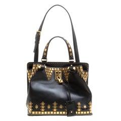 Valentino Black Leather Medium Joy Lock Studded Top Handle Bag