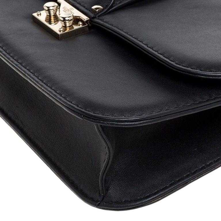 Valentino Black Leather Medium Rockstud Glam Lock Flap Bag For Sale 6