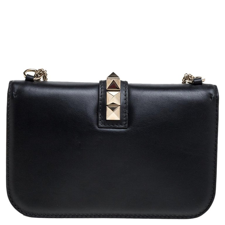 Women's Valentino Black Leather Medium Rockstud Glam Lock Flap Bag For Sale