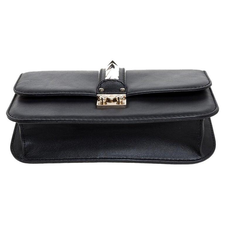 Valentino Black Leather Medium Rockstud Glam Lock Flap Bag For Sale 1