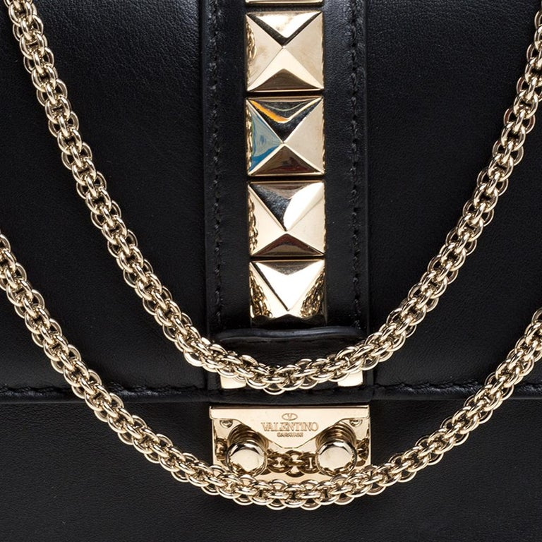 Valentino Black Leather Medium Rockstud Glam Lock Flap Bag For Sale 2