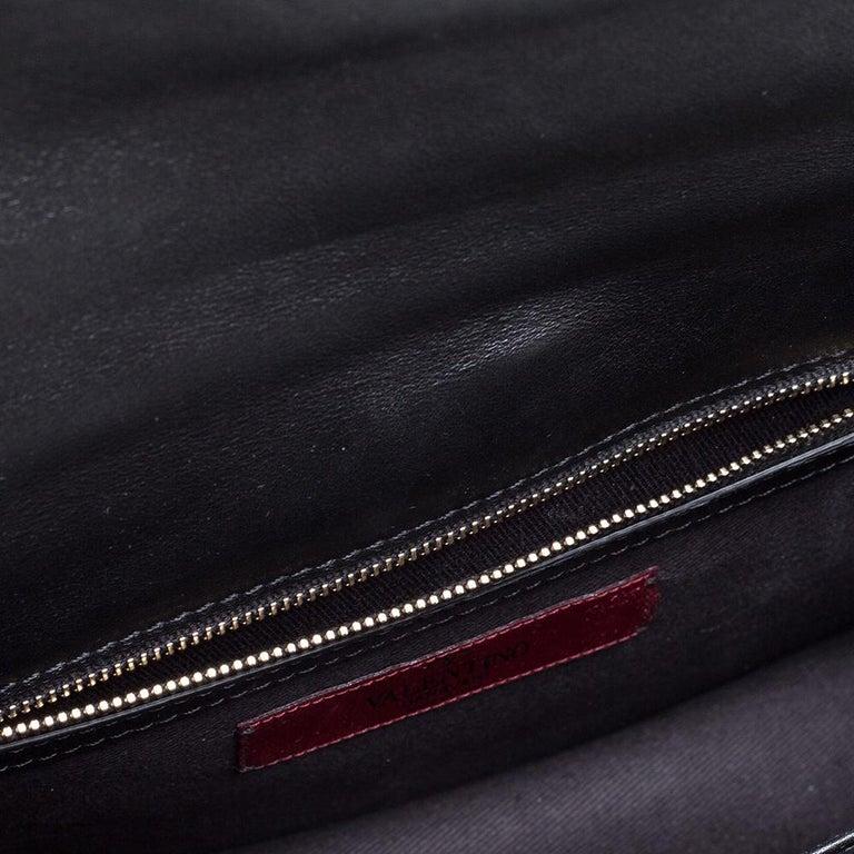 Valentino Black Leather Medium Rockstud Glam Lock Flap Bag For Sale 3