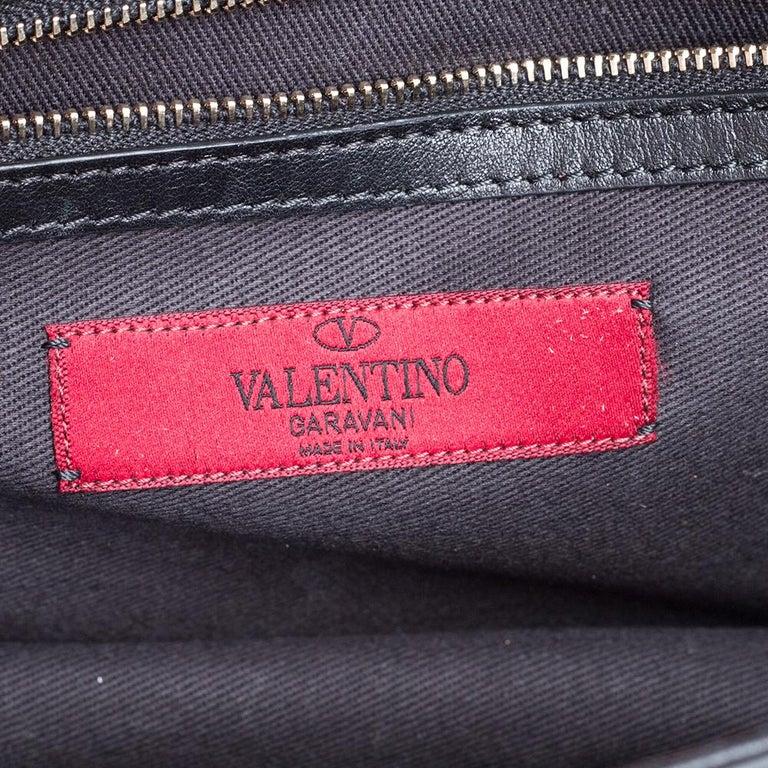 Valentino Black Leather Medium Rockstud Glam Lock Flap Bag For Sale 4