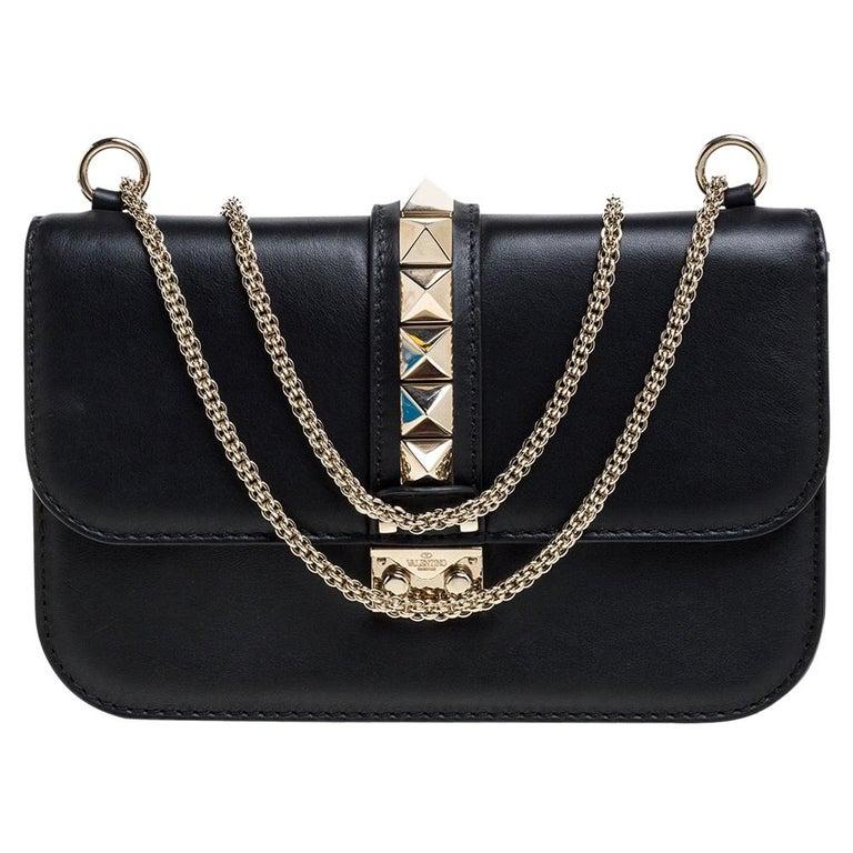Valentino Black Leather Medium Rockstud Glam Lock Flap Bag For Sale