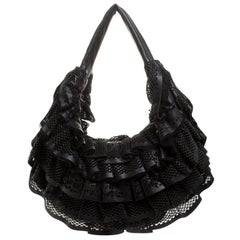 Valentino Black Leather Mesh Ruffle Hobo
