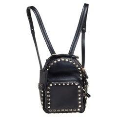 Valentino Black Leather Mini Rockstud Backpack