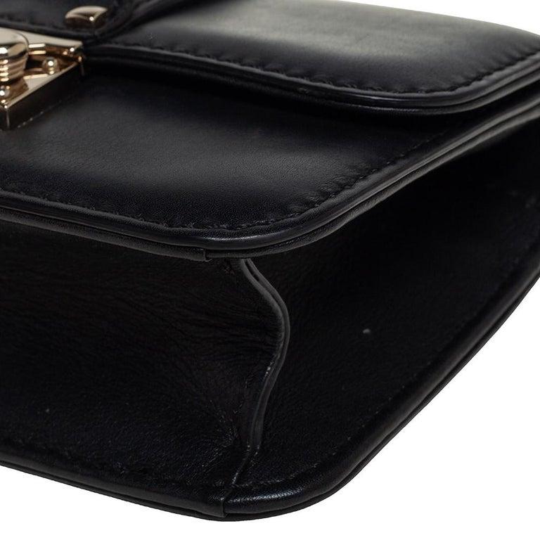 Valentino Black Leather Mini Rockstud Glam Lock Flap Bag For Sale 6