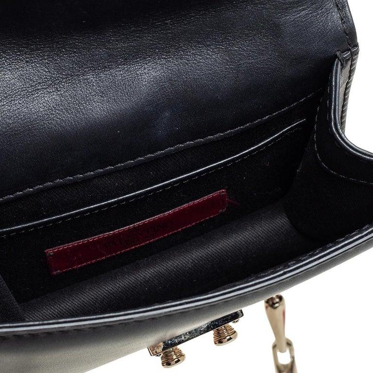 Valentino Black Leather Mini Rockstud Glam Lock Flap Bag For Sale 7