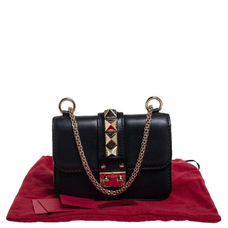 Valentino Black Leather Mini Rockstud Glam Lock Flap Bag For Sale 8