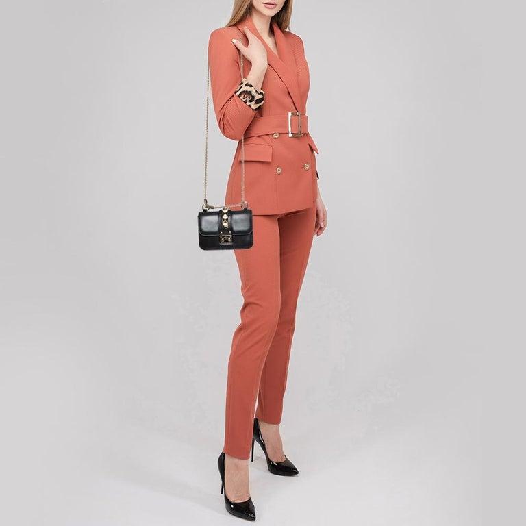 Valentino Black Leather Mini Rockstud Glam Lock Flap Bag In Fair Condition For Sale In Dubai, Al Qouz 2