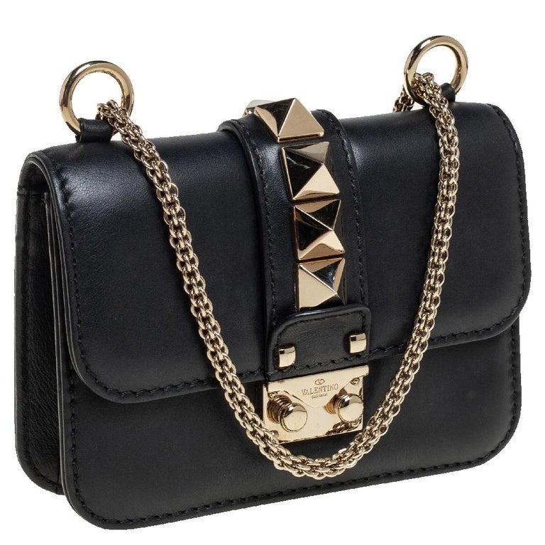Women's Valentino Black Leather Mini Rockstud Glam Lock Flap Bag For Sale