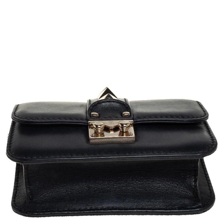 Valentino Black Leather Mini Rockstud Glam Lock Flap Bag For Sale 1