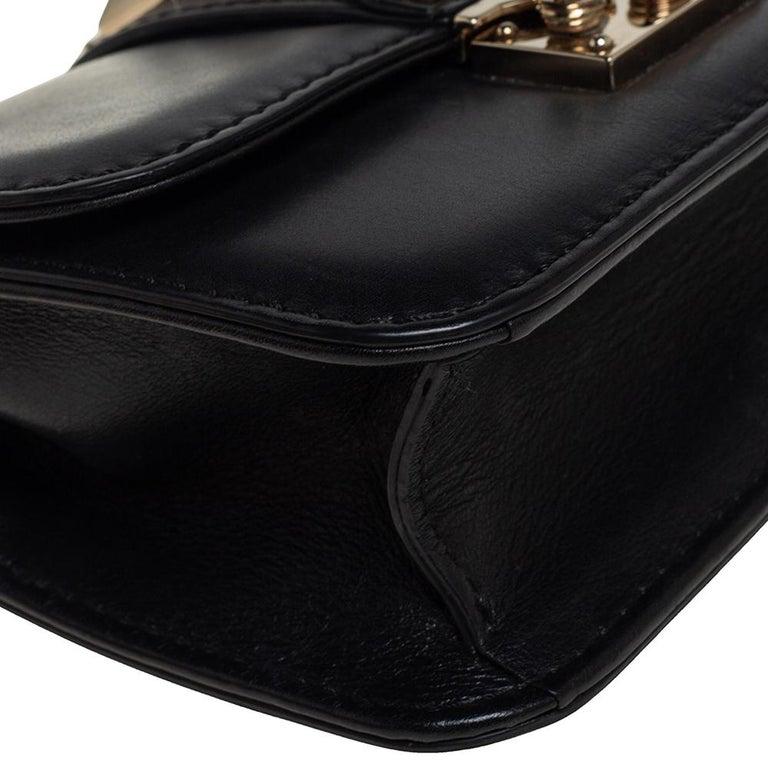 Valentino Black Leather Mini Rockstud Glam Lock Flap Bag For Sale 3