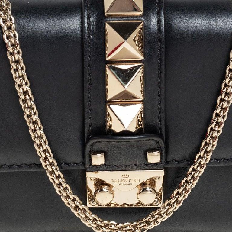 Valentino Black Leather Mini Rockstud Glam Lock Flap Bag For Sale 4