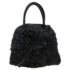 Valentino Black Leather Petale Rose Dome Bag