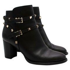Valentino Black Leather Rockstud Ankle Boots - Size EU 39