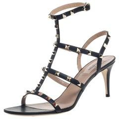 Valentino Black Leather Rockstud Ankle Strap Sandals Size 41