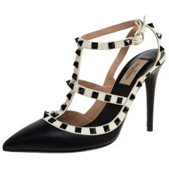 Valentino Black Leather Rockstud Ankle Strappy Sandals Size 39