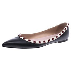 Valentino Black Leather Rockstud Ballet Flats Size 38.5