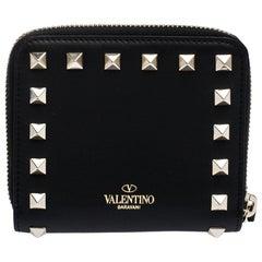 Valentino Black Leather Rockstud Coin Purse