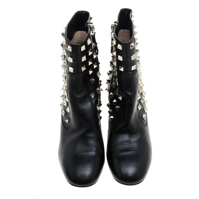 2885d3cd207 Valentino Black Leather Rockstud Embellished Ankle Boots Size 36