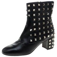 Valentino Black Leather Rockstud Embellished Ankle Boots Size 36