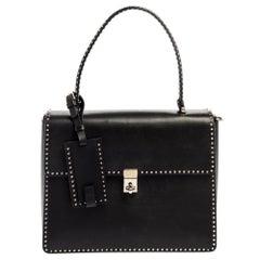 Valentino Black Leather Rockstud Flap Top Handle Bag