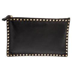 Valentino Black Leather Rockstud Flat Pouch