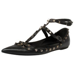 Valentino Black Leather Rockstud Flats Size 38.5