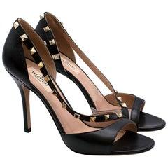 Valentino Black Leather Rockstud Open Toe Sandals - Size 38