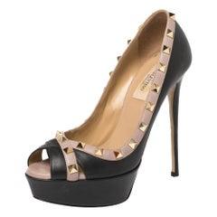 Valentino Black Leather Rockstud Peep Toe Platform Pumps Size 37