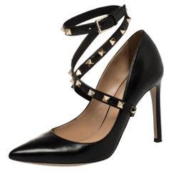 Valentino Black Leather Rockstud Pumps Size 36.5