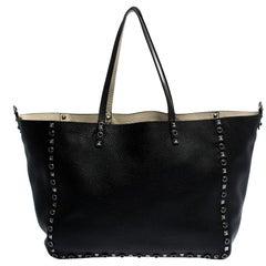 Valentino Black Leather Rockstud Reversible Tote