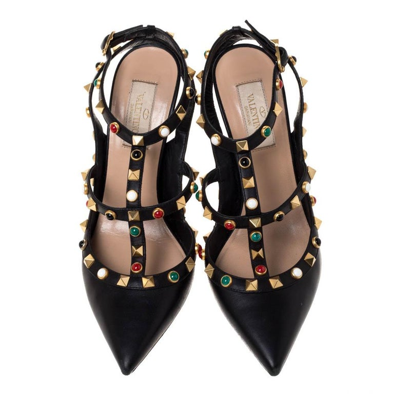 Valentino Black Leather Rockstud Rolling Ankle Strap Sandals Size 37.5 In Fair Condition For Sale In Dubai, Al Qouz 2