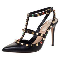 Valentino Black Leather Rockstud Rolling Ankle Strap Sandals Size 37.5